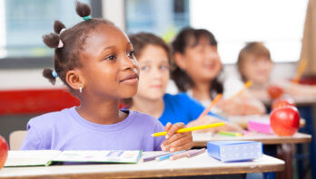 girl listening in a class